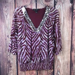 INC Maroon blouse with silver sequins size medium